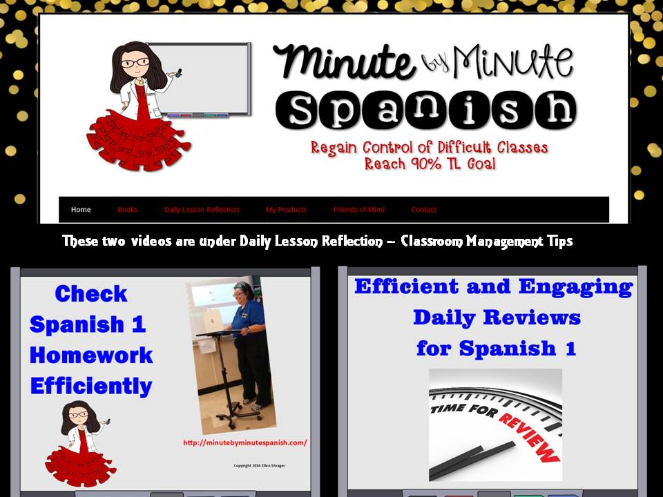 Spanish One Classroom management tips for checking homework and daily review. Two videos to help you find your teaching voice.