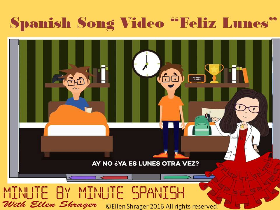 "Spanish song and video ""Feliz Lunes"" is the perfect 90 second transition for students as they come to class on Mondays. Musical Videos make transitions seamless, improve student behavior, classroom management and maintain 90% target language usage."