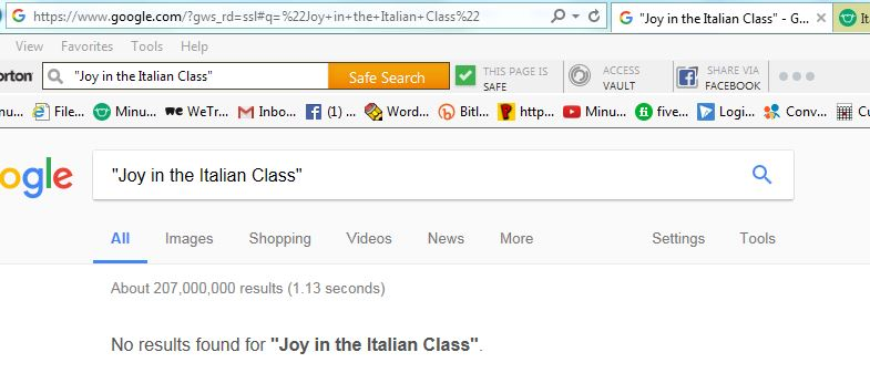 no joy in italian