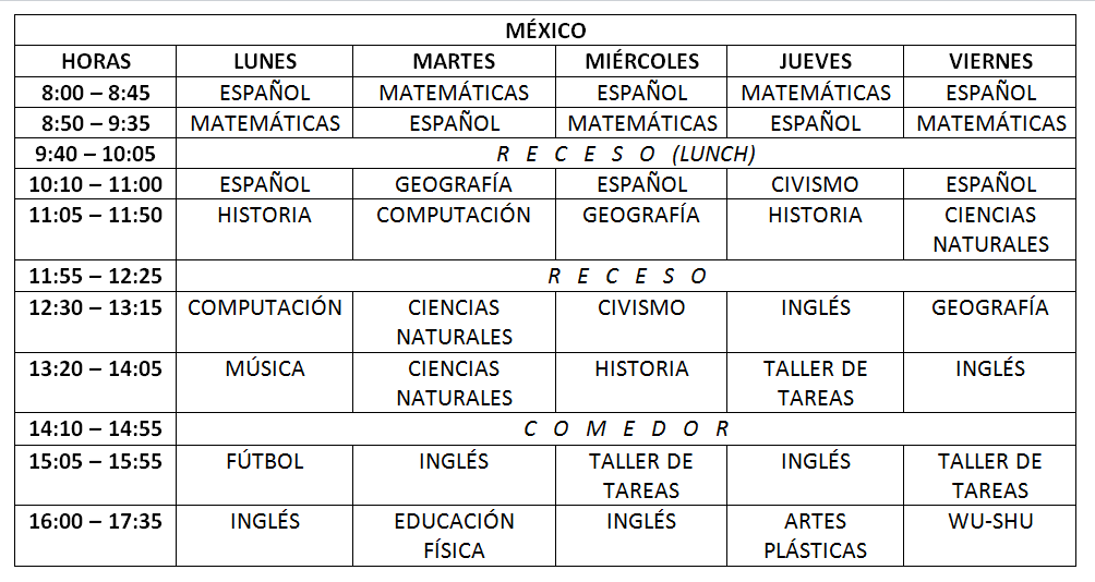 mexico schedule