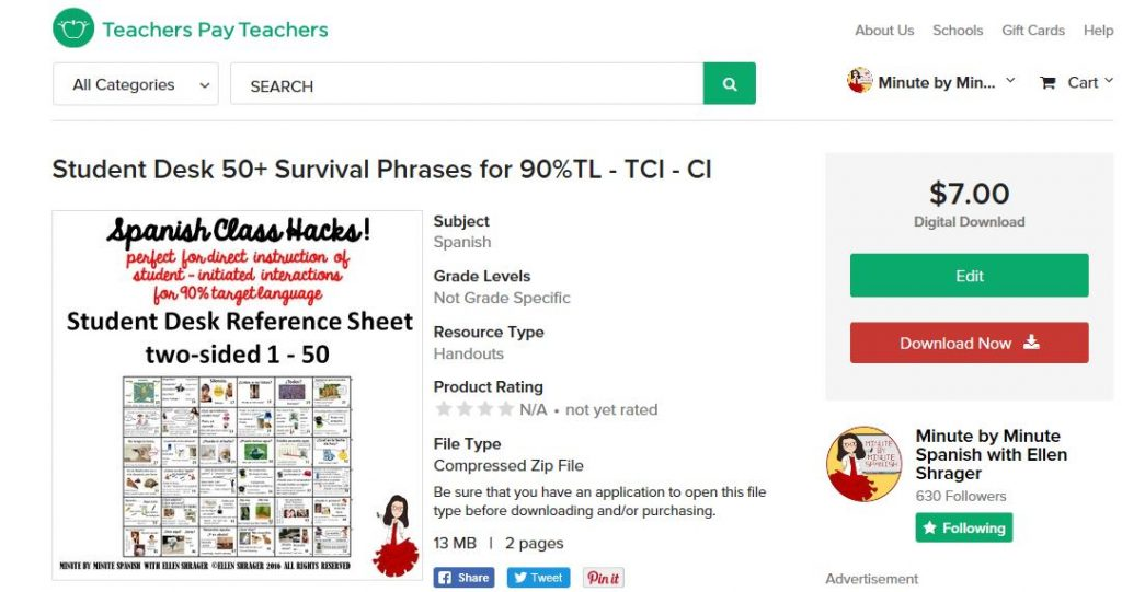 Put these Spanish Survival Vocabulary Sheets in a page protector for students to use all year.