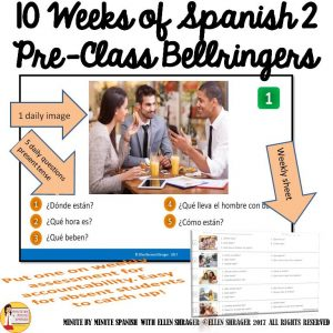 Students can review vocabulary from Spanish One, practice those abstract questions and practice writing without a translator with minimum prep from you!